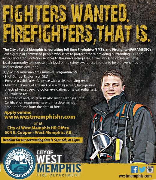 West Memphis Fire Department Firefighters Wanted