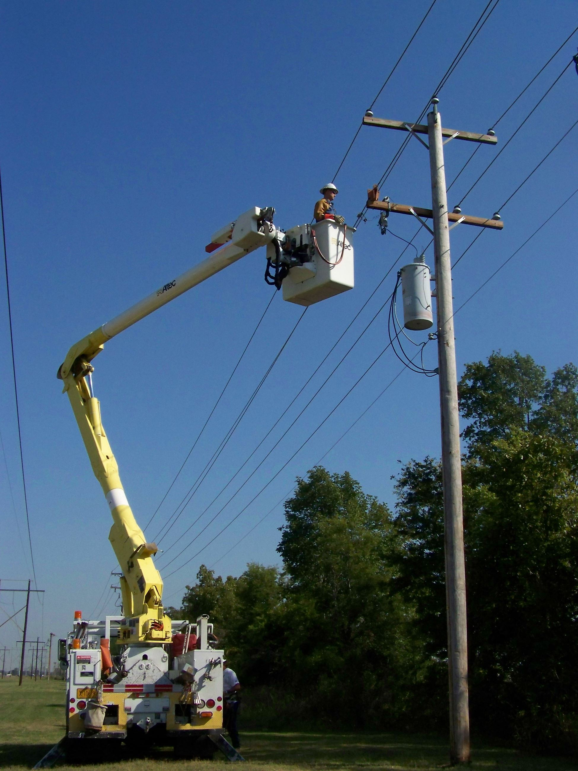 Utility Crew Fixing Power Lines