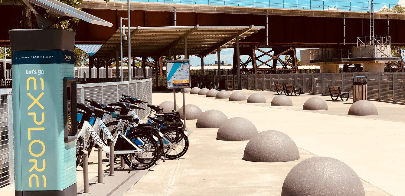 Shared bikes lined up at a station